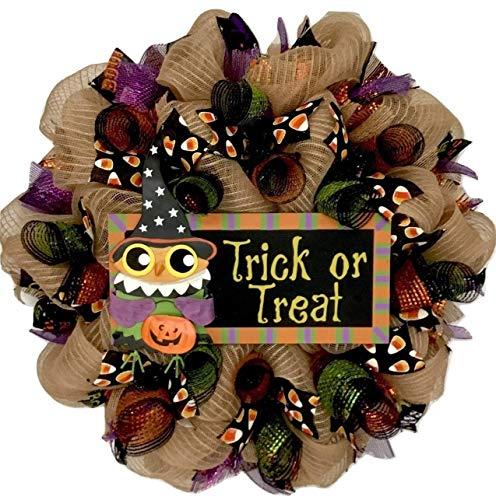 (Trick or Treat Halloween Owl Handmade Deco Mesh)
