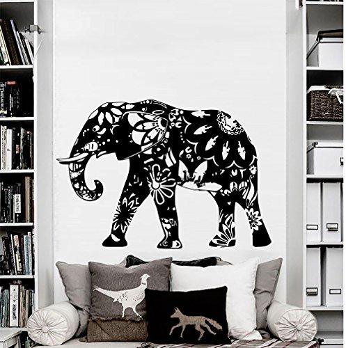 Wall Decal Elephant Vinyl Sticker Decals Home Decor Murals Indian Elephant Floral Patterns Mandala Tribal Buddha Ganesh Bedroom Dorm OS39