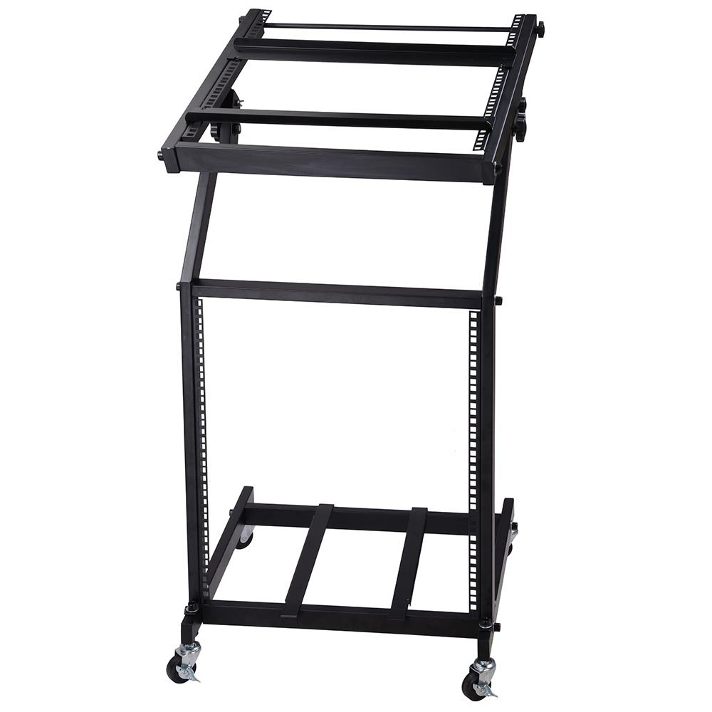 AW Adjustable Rack Mount Studio Equipment Rolling DJ Mixer Stand Stage Cart Music Party Show 12U
