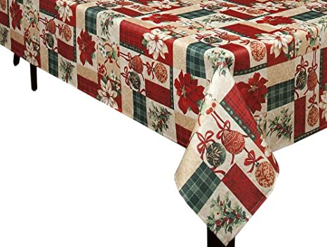 Amazon Com Benson Mills Calico Christmas Printed Tablecloth 60 Inch By 120 Inch Home Kitchen