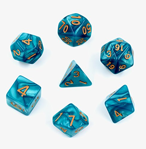 Polyhedral D&D Dice Set - Set of 7-Die Dice for Dungeons & Dragons Dice Games, Pathfinder, Magic The Gathering (MTG), Math Games and More(Indigo) Polyhedral Set