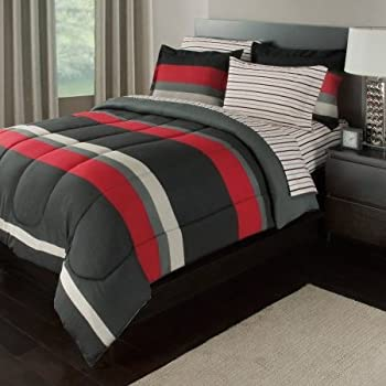 Amazon.com: 7 Piece Boys Queen Rugby Stripes Bed in a Bag ...