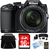 Nikon COOLPIX B500 40x Optical Zoom Digital Camera 16GB Bundle includes Camera, Bag, 16GB Memory Card, Reader, Wallet, Batteries + Charger, Screen Protectors, Cleaning Kit & Beach Camera Cloth (Black)
