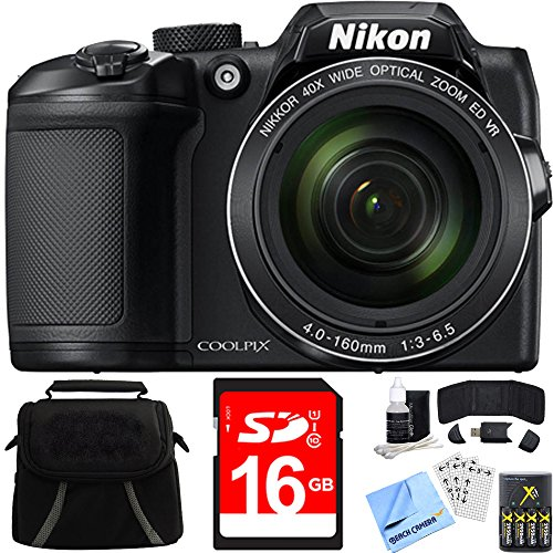 Nikon COOLPIX B500 40x Optical Zoom Digital Camera 16GB Bundle includes Camera, Bag, 16GB Memory Card, Reader, Wallet, Batteries + Charger, Screen Protectors, Cleaning Kit & Beach Camera Cloth (Black Digital Camera Kit)
