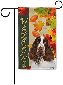 BAGEYOU Welcome Fall with My Favorite Dog English Springer Spaniel Garden Flag Maple Leaf Harvest Season Rustic Decor Yard Banner for Outside 12.5X18 Inch Printed Double Sided