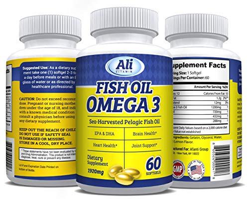 Cheap AliVitamin Omega-3 Fish Oil Supplement, Sea Harvested Pelagic,60 Softgels,1920 mg Fish Oil/serving