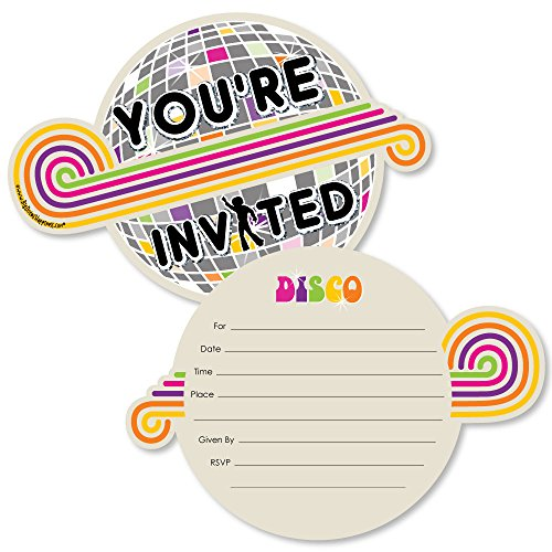 70's Disco - Shaped Fill-in Invitations - 1970s Disco Fever Party Invitation Cards with Envelopes - Set of 12 (Disco Ball Invitations)