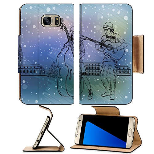 Luxlady Premium Samsung Galaxy S7 EDGE Flip Pu Leather Wallet Case IMAGE ID: 34459894 Christmas street performers in a snowy (Homemade Group Costumes)