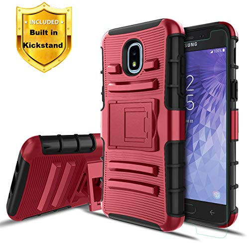 Dingo for Samsung Galaxy J3 V Case,J3V 3rd Gen/J3 Orbit/J3 2018/2019/J3 Star/J3 Achieve/Amp Prime 3 /Express Prime 3/Sol 3/J3 TOP/J3 Aura Protection Phone Case w/Kickstand+Screen Protector,PC-red ()