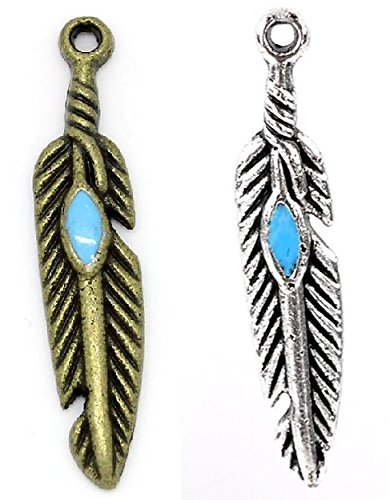 Native american feather charms 200 pc silver bronze for Arts and crafts wholesale