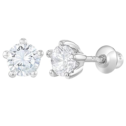 0d5f07dca 925 Sterling Silver Screw Back Baby Girl Earrings Children's Prong Set  Clear CZ 4mm. Roll over image to zoom in. In Season Jewelry