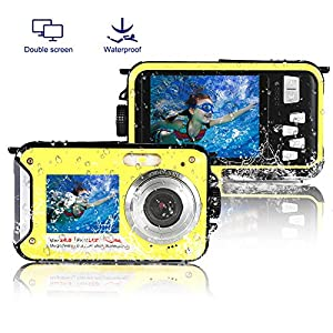 Underwater Camera Full Hd 1080P Waterproof Digital Camera 24.0MP Underwater Digital Camera Self Point and Shoot Dual Screen Waterproof Camera