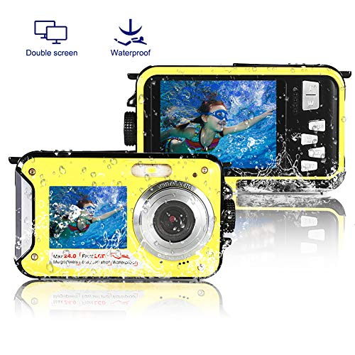 Underwater Camera Waterproof Camera Full HD 1080P Waterproof Digital Camera 24.0MP Underwater Digital Camera Dual Screen Point and Shoot Digital Camera
