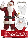 BirthdayExpress Santa XXXL Suit - Crimson Ultra Deluxe Complete 10 Piece Kit - Santa Costume Plush Outfit