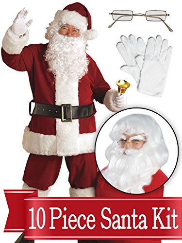 Santa Standard Suit - Crimson Ultra Deluxe Complete 10 Piece Kit - Santa Costume Plush -