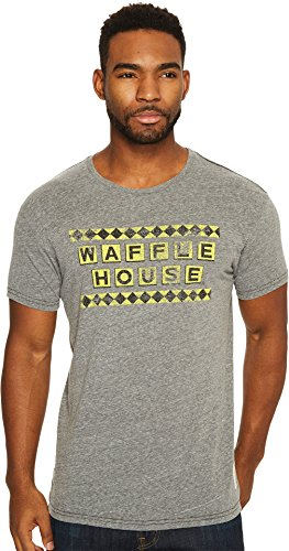 Original Retro Brand Men's Waffle House Tri-Bled Short Sleeve Tee Streaky Grey Large