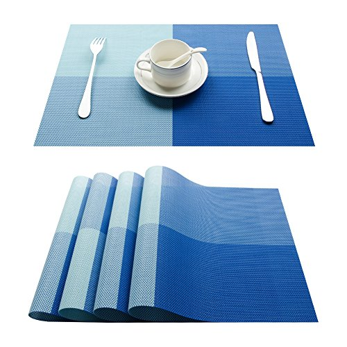 Top Fine Eco-friendly Colorful Plaid Placemats Table Mats Washable Heat-resistant for Dining Table 12
