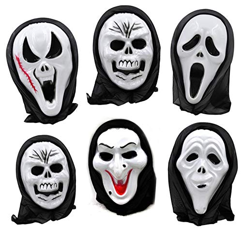 (NOMSOCR Horror Mask, Halloween Mask Scary Devil Face Prank Skull Mask for Adults Kids (Random))