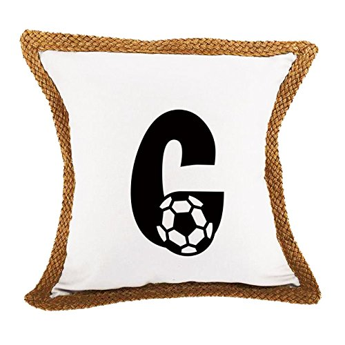 ''C '' Soccer Initial Monogram Letter C Bed Home Decor Faux Linen Pillow Cover White by Style in Print