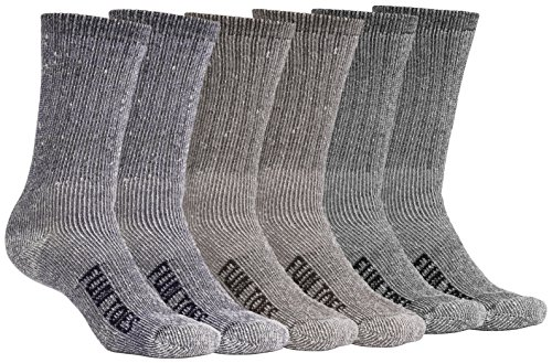 FUN TOES Men's Merino Wool Socks -6 Pack Value- Lightweight,Reinforced-Size 8-12 (2 Black, 2 Blue, 2 - Blister Assortment