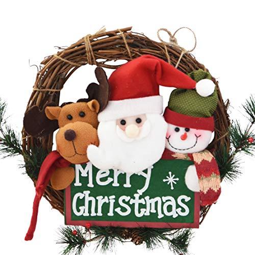 """Yzakka 14"""" Christmas Wreath Hanger for Front Door Santa Snowman Elk Artificial Merry Christmas Letters Indoor Use"""