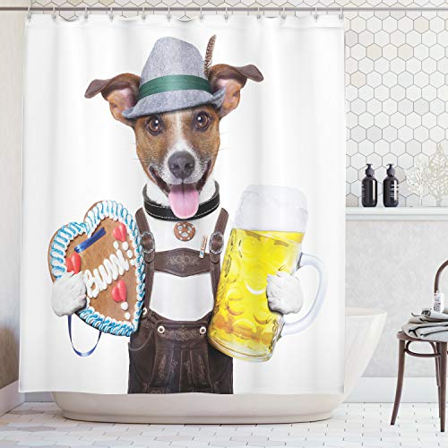 Ambesonne Festival Decorations Collection, Oktoberfest Dog with Beer Mug and Gingerbread Heart, Smiling Happy Times Art, Polyester Fabric Bathroom Shower Curtain Set with Hooks, Yellow Brown -