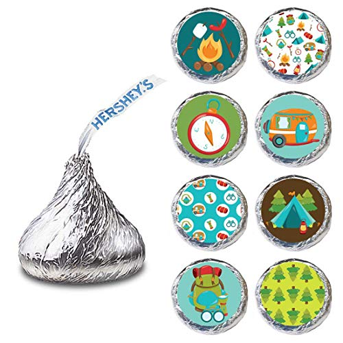- Camping Label for HERSHEY'S KISSES® chocolates - Outdoor Candy Sticker Party Favor - Set of 240