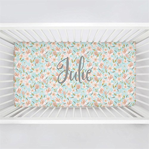 Carousel Designs Personalized Custom Aqua and Pink Hawaiian Floral Crib Sheet Julie Idea - Organic 100% Cotton Fitted Crib Sheet - Made in the (Hawaiian Floral Bedding)