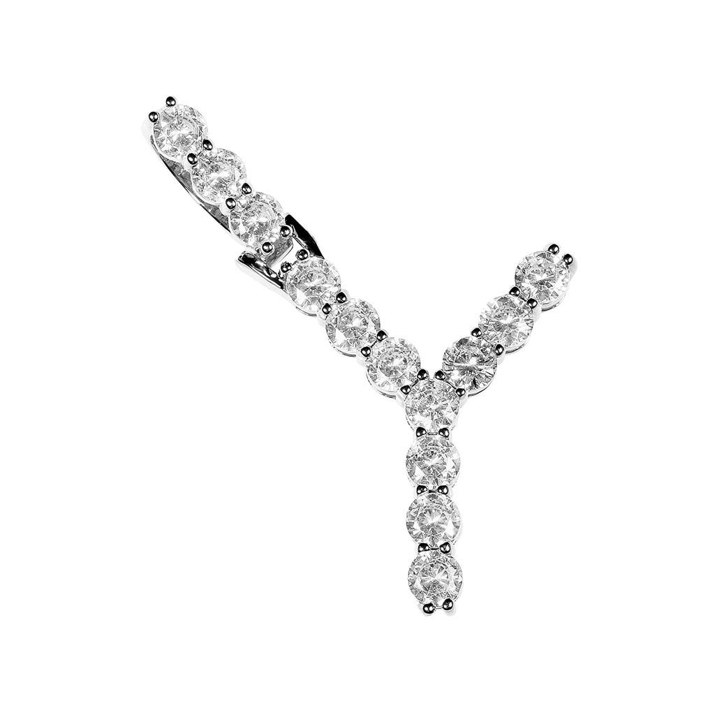 Peigen 26 Letters Alphabet Personalized Charm Pendant Hip Hop Chain 1 Series 5mm 18Inch Rhinestone Necklace Letter Pendant Sideways Initial Necklace Steel Large Pendant Necklace