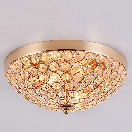 SOTTAE Elegant Golden Finished European 2 Lights Flush Mount Modern Crystal Chandelier Ceiling Light,Beautiful Ceiling Lamp for Bedroom Living Room Hallway ()