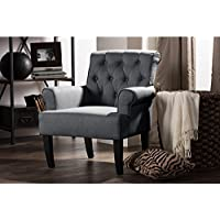 Wholesale Interiors Barret Fabric Upholstered Rolled-Arm Button-Tufting Accent Club Chair, Large, Grey Linen