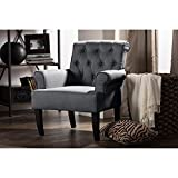 Wholesale Interiors Barret Fabric Upholstered Rolled-Arm Button-Tufting Accent Club Chair, Large, Grey Linen Review