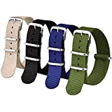 Ritche 16mm 18mm 20mm 22mm 24mm Nato Watch Straps Nylon Replacement Men Women Bands (4 Packs)