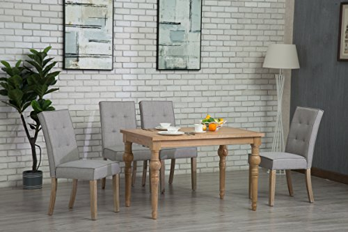 Oliver Smith - Roosevelt Collection - 5 Piece Dining - Table and 4 Chairs - Dinette Table Linen Chairs Set Antique Washed Oak 150262lightgrey