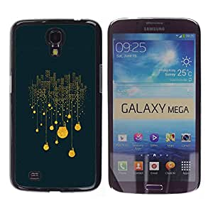 QCASE / Samsung Galaxy Mega 6.3 I9200 SGH-i527 / luces de la ciudad luz bombilla electricidad noche grande / Delgado Negro Plástico caso cubierta Shell Armor Funda Case Cover
