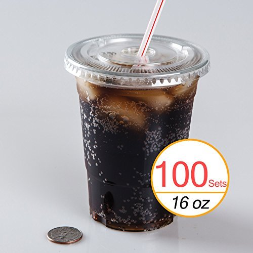 Clear Plastic Cups Lids - TashiBox Disposable Plastic Cups with Flat Lids, 100 Sets, 16 oz, Crystal Clear