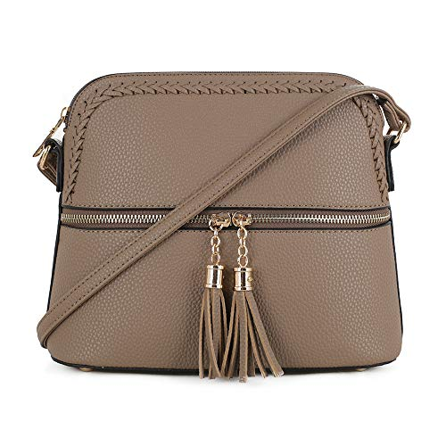 (SG SUGU Lightweight Medium Dome Crossbody Bag with Accent and Tassel   Zipper Pocket   Taupe)
