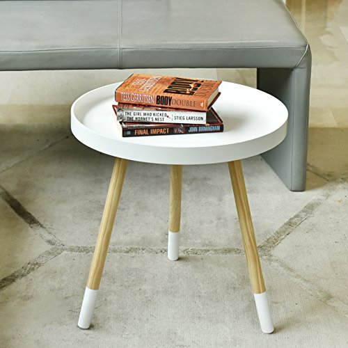 WELLAND Nesting Wooden End Table with Paint-Dipped Legs, Mod