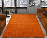 Ottomanson Soft Cozy Color Solid Shag Area Rug Contemporary Living and Bedroom Soft Shag Area Rug, Orange, 6'7″ L X 9'3″ W For Sale