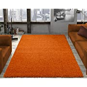 Ottomanson Soft Cozy Color Solid Shag Area Rug Contemporary Living and Bedroom Soft Shag Area Rug, Orange, 3'3  L X 4'7  W