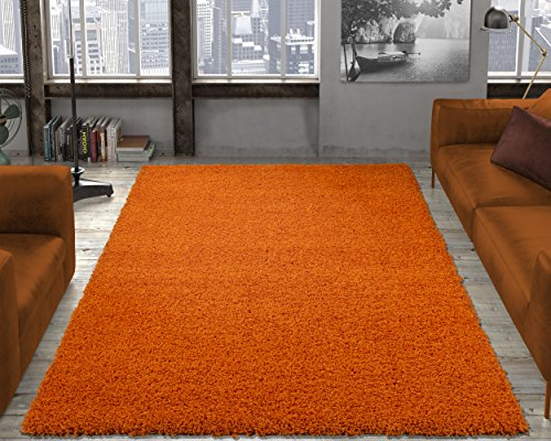 (Ottomanson Soft Cozy Color Solid Shag Area Rug Contemporary Living and Bedroom Soft Shag Area Rug, Orange, 5'3