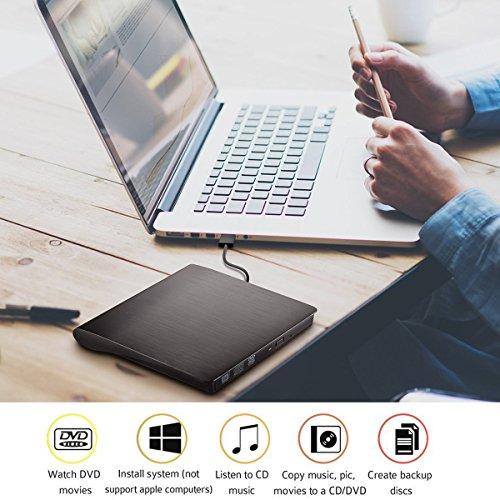 OTOOLWORLD External CD Drive USB 3.0 Slim Portable External DVD CD/DVD-RW Rewriter Burner Drive for Laptop Notebook PC Desktop Computer Support Windows/ Vista/7/8.1/10, Mac OSX (Black) by OTOOLWORLD (Image #4)