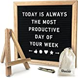"Felt Letter Board - Wooden Letter Board Set - Black Wood Letter Board Kit - Small Alphabet Decorative Hanging Wall Letter Board Sign with Oak Frame - 10"" x 10"" - 290 Changeable White Plastic Letters"