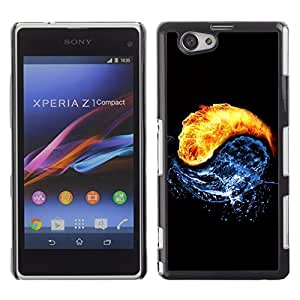 Design for Girls Plastic Cover Case FOR Xperia Z1 Compact D5503 Universe Yin Yang Water Fire Cosmos Circle Art OBBA