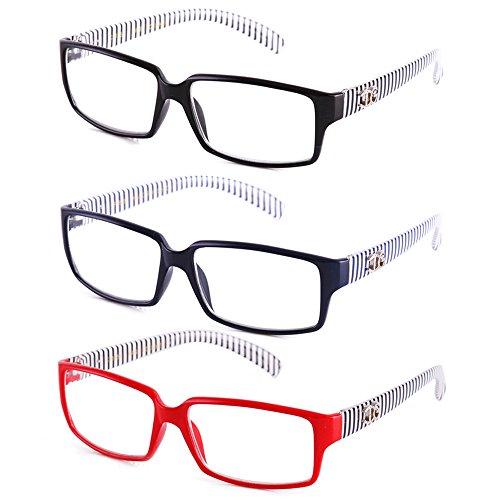 Plastic Frame Fashion (Newbee Fashion - IG Unisex Black & White Striped Transparent Temple Retangle Frame Clear Lens Eye Glasses)