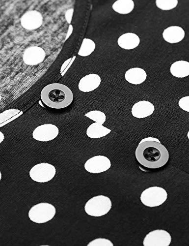 Dot Baggy di Moda Shirts Estivi schwarz Camicetta 3 Lunghe Manica Tops Rotondo Shirt Collo Casual Ragazza Primaverile Dots Donna Polka Confortevole Eleganti 4 Maglietta Chic Wxg7wwv