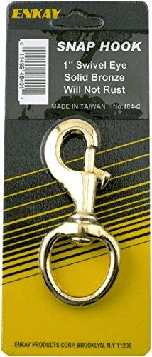 Enkay 484-C  1-Inch Snap Hook, Swivel Eye, Brass, Carded