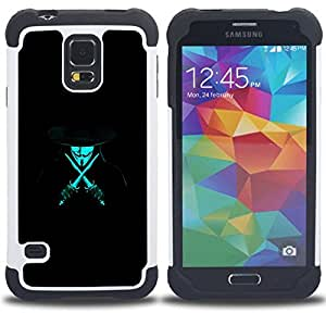 - Anonymous Rebel Neon Blue - - Doble capa caja de la armadura Defender FOR Samsung Galaxy S5 I9600 G9009 G9008V RetroCandy