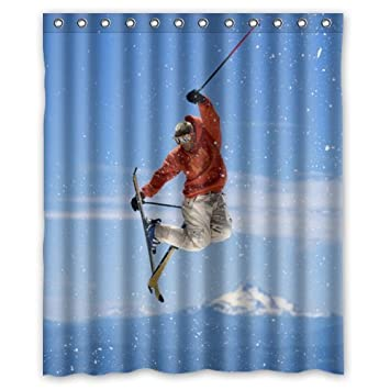 New Magnificent Scenery And Cool Sport A Man Skiing Shower Curtain 60quotx72quot Inches