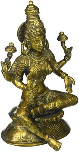 Aone India Lakshmi Brass Statue Religious Hindu Wealth Prosperity Goddess Laxmi Sculpture-Indian handicrafted Figurines Cash Envelope Pack of 10